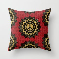 Peace Mandala Pattern Print Red Edition Throw Pillow