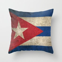 Old and Worn Distressed Vintage Flag of Cuba Throw Pillow