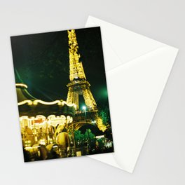 Paris Eiffel Tower at Night - Magical Carousel Stationery Cards