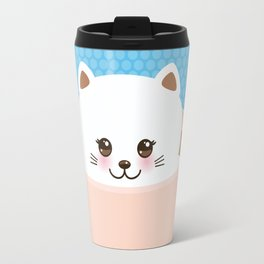 Cute Kawai cat in pink cup, coffee art Travel Mug
