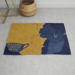 Vintage Blue and Yellow Turkish Coffee Woman with Cigarette Rug
