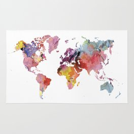 Rainbow watercolor world map | Watercolor geography art print Rug