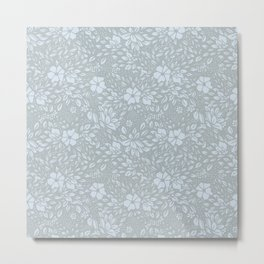 Abstract Geometric - kind of damasc french style wallpaper  - light blue and gray Metal Print