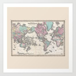 1855 Colton Map of the World on Mercator Projection Art Print