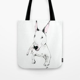 A Bull Terrier Puppy Tote Bag