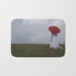 Red and White I Bath Mat