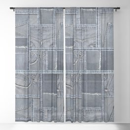 Blue Jeans Denim Patchwork Pattern Sheer Curtain