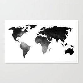World Map Space Stars Black and White Canvas Print