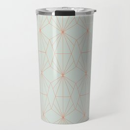 Geometry art decó in blue and orange Travel Mug