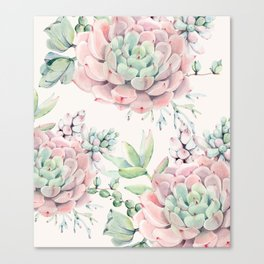 Pink Succulents on Cream Canvas Print