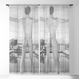 Freedom Swim Male Nude Sheer Curtain