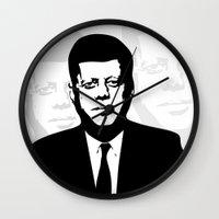 jfk Wall Clocks featuring JFK by b & c