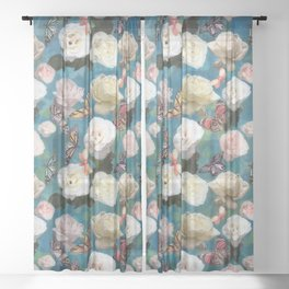 White Roses and Butterflies Sheer Curtain