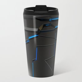Black fractured surface with blue glowing lines Travel Mug