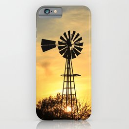 Kansas Golden Sunset with a Windmill Silhouette. iPhone Case