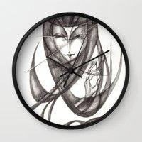 ace Wall Clocks featuring Ace by Kaoru Ishida