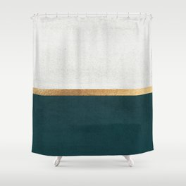 Deep Green, Gold and White Color Block Shower Curtain