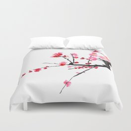 red plum flower Duvet Cover