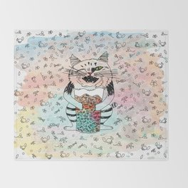 Emotional Cat. Playful. Throw Blanket