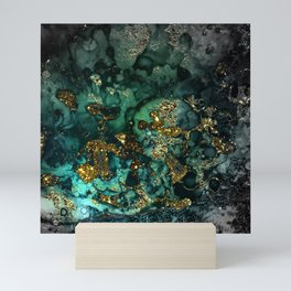 Gold Indigo Malachite Marble Mini Art Print