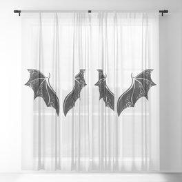 Black Dragon Wings Sheer Curtain