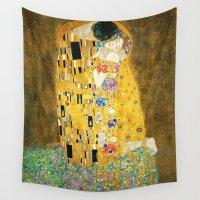 klimt Wall Tapestries featuring Gustav Klimt The Kiss by Art Gallery