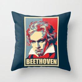 Beethoven Propaganda Poster Pop Art Throw Pillow
