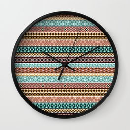 Knitted Series - Teal / Rust Wall Clock