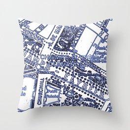 Blue Print Thoughts of Paris Throw Pillow