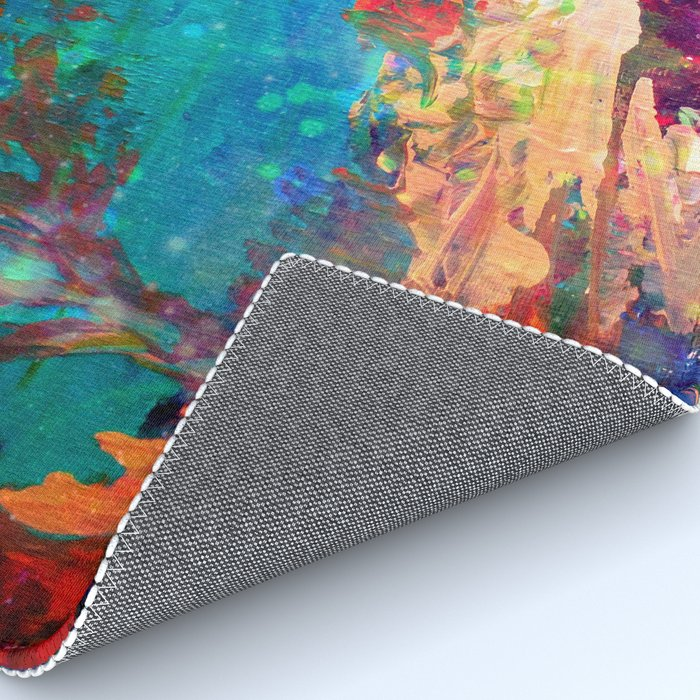 WELCOME TO UTOPIA Bold Rainbow Multicolor Abstract Painting Forest Nature Whimsical Fantasy Fine Art Rug