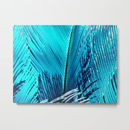Sky Blue Palm Metal Print