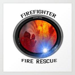 Firefighter rescue Art Print