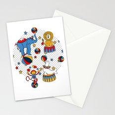 Little Circus Stars on White Stationery Cards