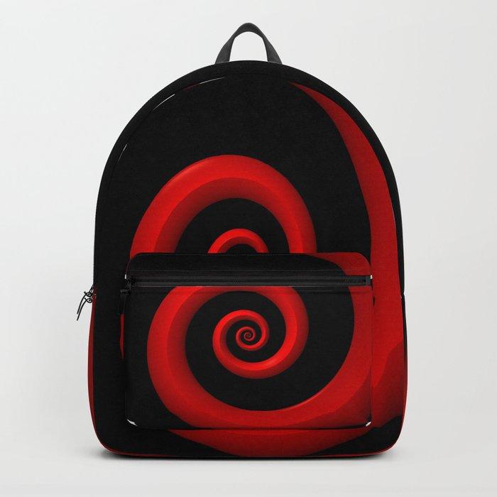 Red Spiral on Black Background Backpack