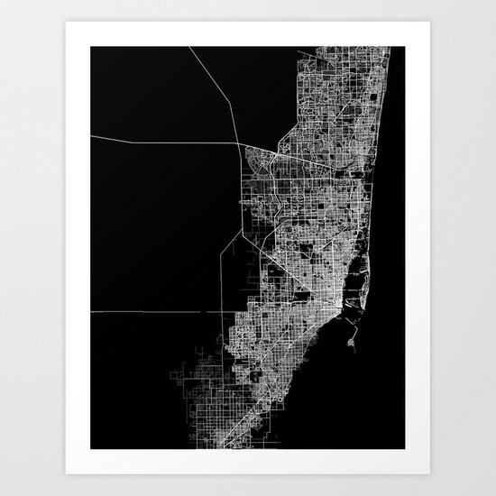 Miami map Art Print