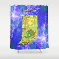 indiana Shower Curtains featuring Indiana Map by Roger Wedegis