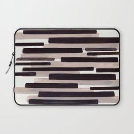 Grey Primitive Stripes Mid Century Modern Minimalist Watercolor Gouache Painting Colorful Stripes Wa Laptop Sleeve