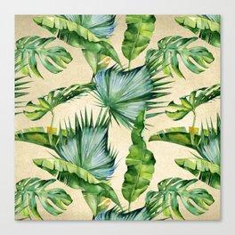 Green Tropics Leaves on Linen Canvas Print