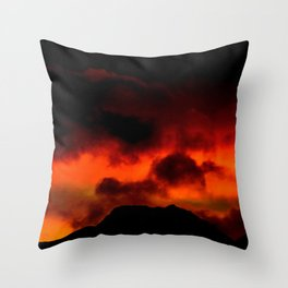 Fire Red Sunrise Throw Pillow