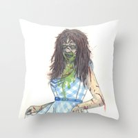 three of the possessed Throw Pillows featuring Regan (Possessed) by Monsters in Plaid