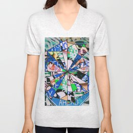 Green Graffiti Abstract Mosaic Unisex V-Neck