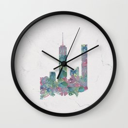 One World Trade Center Floral New York City Skyline Wall Clock