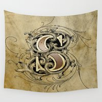 monogram Wall Tapestries featuring monogram s by Art Lahr