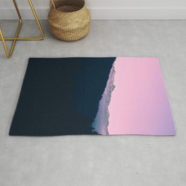 Pink Sunset Rolling Hill Silhouette Landscape Photo Rug