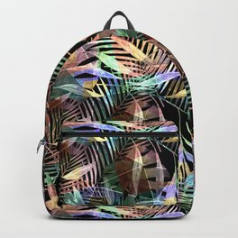 Tropical pattern. Colorful leaves on black Backpack