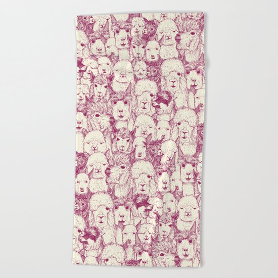 just alpacas cherry pearl Beach Towel