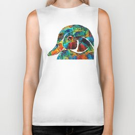 Colorful Wood Duck Art by Sharon Cummings Biker Tank