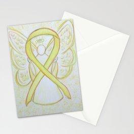 Yellow Awareness Ribbon Angel Art Stationery Cards