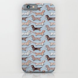 Origami Dachshunds sausage dogs // pale blue background iPhone Case