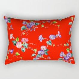 morning glories on red Rectangular Pillow
